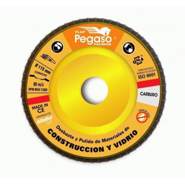 DISCO FLAP PACMAN - CONSTRUCCION Y VIDRIO 115 MM - G.120 PEGASO