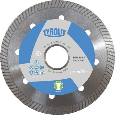 "DISCO DIAMANTADO PREMIUM - TURBO MARMOL 115 MM. - 4.5"" TYROLIT"